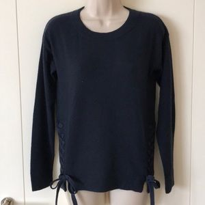 Autumn Cashmere Navy Sweater Lace Up Detail Sz XS